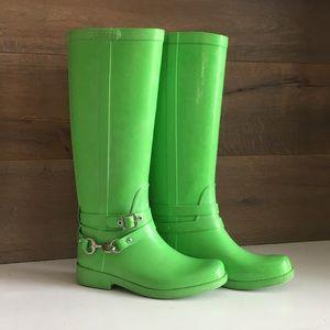 Coach Lori Rain Boots Neon Green Size 6B